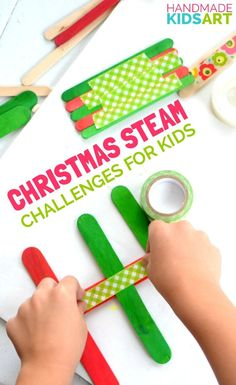 Christmas STEAM activity for Kids. Challenge your child's thinking with  this simple 2 material STEM + Art kid's activity.
