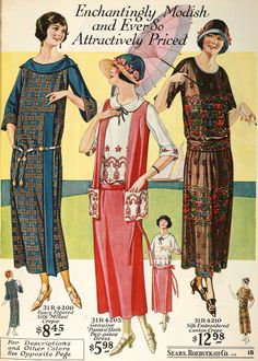 (Madison R.) (Picture shows As worn by the everyday woman as illustrated in Sears catalog) Women's hemlines rose to above the ankle and the silhouette shapes were cylinder like and ready to wear so they had to be able to easily fit many body types. 1920 Style, Flapper Style, 20s Fashion, Fashion History, Retro Fashion, Vintage Fashion, Street Fashion, Fashion Brands, Vintage Outfits