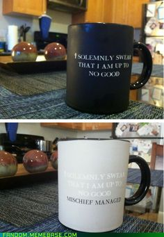 """I solemnly swear that I am up to no good"" mug changes to ""mischief managed"" mug when heated! Want, want, want, want, want. :D"