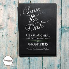 Chalkboard Save the Date / Wedding Invite  / Black and White Invitation / DIY Printable / Printed Invitations with free envelopes & postage #etsy  #design