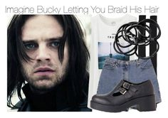 """Imagine Bucky Letting You Braid His Hair"" by fandomimagineshere ❤ liked on Polyvore featuring Uniqlo, Karen Walker, Ann Taylor and H&M"