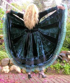 Recycled Sweater Coat Black and Jade by VintageDesignByVines, $375.00