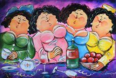 Dikke Dames schilderij High Tea. Dit vrolijke dikke dame schilderij straalt vrolijkheid en sfeer uit. Dit kunstwerk, met vooral paarse tinten, brengt warmte in uw interieur