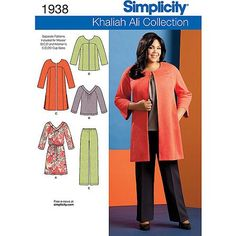 Simplicity Pattern Misses' and Plus Size Sportswear, Coat/Jacket/Pants/Dress or Top, (10, 12, 14, 16, 18)