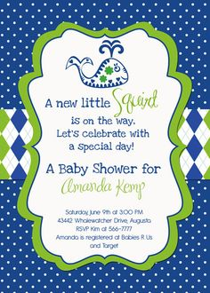 Preppy Whale Lil Squirt Baby Shower Invitation  by PartyPopInvites, $16.00