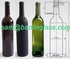 750ml matt frosted black red wine bottle
