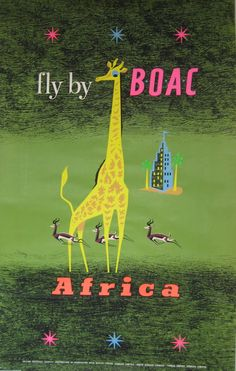 Vintage Airline Poster / fly by BOAC - Africa