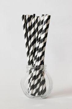 Noir et blanc paillettes bande papier pailles noir et blanc réceptions papier rayé paillettes noir et blanc Birthday Party - jeu de 20