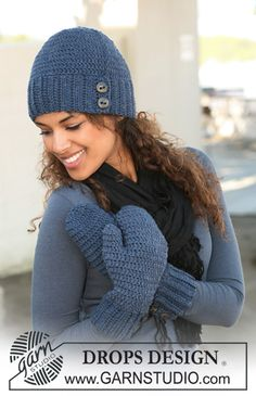 Just the right #crochet hat with mittens! #free pattern by #garnstudio