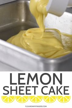 How to make my favorite lemon sheet cake with a simple powdered sugar glaze that's crackly and delicious! Hands down my family's favorite lemon cake recipe, using a cake mix and instant pudding. Lemon Sheet Cake Recipe, Lemon Cake Mixes, Sheet Cake Recipes, Cake Mix Recipes, Lemon Cakes, Lemon Layer Cakes, Coconut Cakes, Lemon Dessert Recipes, Lemon Recipes