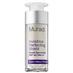 Murad - Invisiblur™ Perfecting Shield Broad Spectrum SPF 30: A primer that blurs imperfections, adds longevity to your foundation, AND has a lightweight SPF! I SO need this in my life! New at Sephora. <3