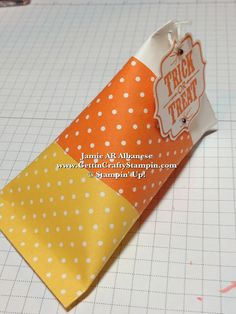 Gettin' Crafty Stampin' with Jamie: Candy Corn Halloween Treat Holder (Sour Cream Container)