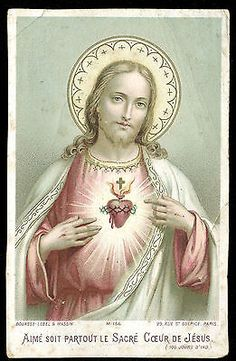 Old Holy Card of Heart of Jesus | eBay