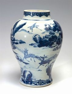 Blue and White Chinese Jars | large Chinese blue and white ovoid jar and cover, 1662-1722,…