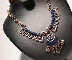 Antiqued Copper Lapis Lazuli Necklace - Lapis Necklace - Lapis Lazuli Necklace - Copper Jewelry Necklace - Copper Wire Wrapped Necklace by BeyhanAkman on Etsy Mixed Metal Jewelry, Copper Jewelry, Wire Jewelry, Jewelry Gifts, Beaded Jewelry, Jewelry Necklaces, Unique Jewelry, Handmade Jewellery, Copper Wire