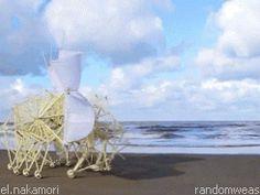 Theo Jansen's Strandbeest: Wind Powered Kinetic Sculptures