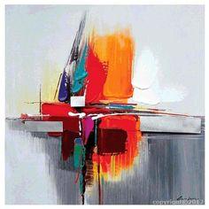 Tableau gris orange bleu abstrait peinture abstraite sur toile