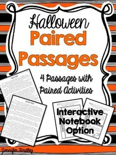 Halloween Reading Activities for 4th and 5th Grade. Halloween Paired Passages!