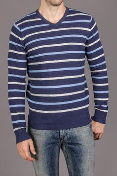 Blue and white striped sweater