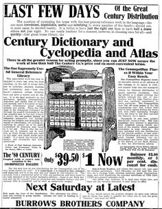 "Ad for Century Dictionary, Cyclopedia and Atlas, published in the Plain Dealer newspaper (Cleveland, Ohio), 22 October 1907. Read more on the GenealogyBank blog: ""How to Use a Dictionary to Help with Your Genealogy."" http://blog.genealogybank.com/how-to-use-a-dictionary-to-help-with-your-genealogy.html"
