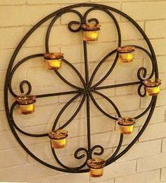 12 Delightful Wrought Iron Candle Holder For House Walls - Top Inspirations Wrought Iron Candle Holders, Metal Candle Holders, Unique Wall Decor, Metal Wall Decor, Design Baroque, Wrought Iron Decor, Structure Metal, Candle Wall Sconces, House Wall