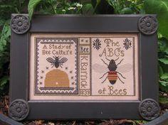 Motif de Sampler étude abeilles