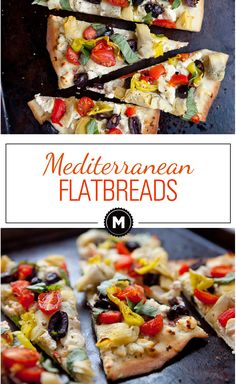 Mediterranean Flatbreads ~ easy to make with no yeast, resulting in an almost cracker-like crispy crust loaded with Mediterranean toppings | macheesmo.com