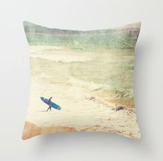 pillow cover, beach home decor, surfer throw pillow, California beach, blue surfboard, boys room pillow, summer, 20x20 pillow case