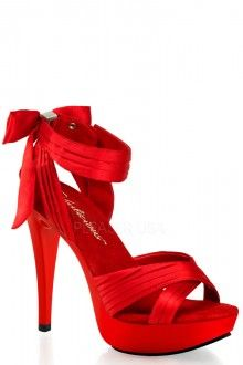 Red Pleated Criss Cross Strap Heels Satin