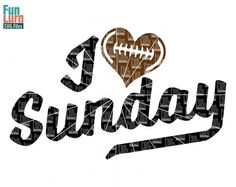 I heart Sunday I heart Football I love Sunday I love by FunLurnSVG