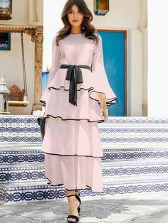 Fit and Flare. Stylish Dresses For Girls, Modest Dresses, Casual Dresses, Girls Dresses, Modest Outfits Muslim, African Fashion Dresses, Fashion Outfits, Indian Designer Outfits, Muslim Fashion