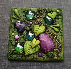 Purple and Green Leaf Tile by MandarinMoon, via Flickr