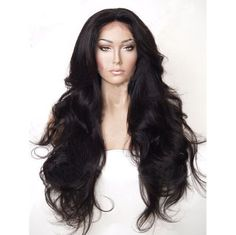 """24"""" Wavy Glueless Black Synthetic Lace Front Wig Full Wigs Heat Resist +comb…"""