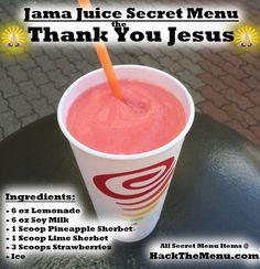 Introducing the Thank You Jesus, a delicious Secret Menu item at Jamba Juice! Smoothie Packs, Juice Smoothie, Smoothie Drinks, Fruit Smoothies, Healthy Smoothies, Jamba Juice Recipes, Blender Recipes, Smoothie Recipes, Cooking Recipes