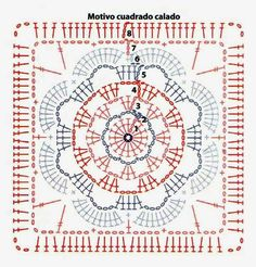 It is a website for handmade creations,with free patterns Crochet Bedspread Pattern, Crochet Motif Patterns, Crochet Blocks, Crochet Pillow, Square Patterns, Point Granny Au Crochet, Granny Square Crochet Pattern, Crochet Diagram, Crochet Chart