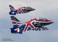 Two aerobatic Hawk T1 jet aircraft are pictured in the livery for the 2010 display season.
