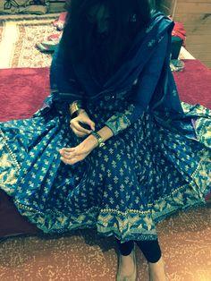 Dark Blue Anarkali with beautiful kalis from Biba