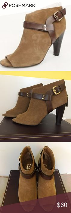 """Vince Camuto Brown Suede Booties Sz 9M VC Signature by Vince Camuto beige brown suede ankle booties from Nordstrom.  Open toe, hell 3"""". Worn once. Like new in a box. From smoke-free home. Vince Camuto Shoes Ankle Boots & Booties"""