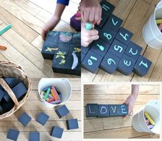 Chalk it up: Art store blocks become building blocks of learning with chalkboard paint! Games For Toddlers, Activities For Kids, Diy And Crafts, Crafts For Kids, Chalkboard Paint, Chalkboard Drawings, Chalkboard Lettering, Chalkboard Ideas, Chalk Paint