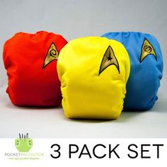 Star Trek TOS inspired cloth diapers - how cute! For my sister Jennifer's baby..