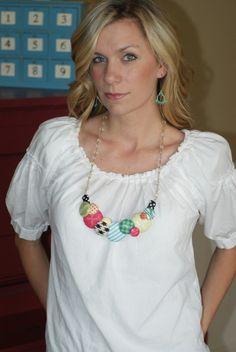 Becca Dulgarian, Blue Cricket Design, fabric button  necklace