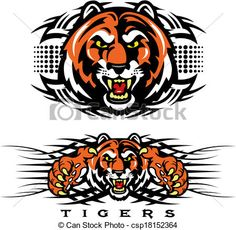Vector - tribal tiger design - stock illustration, royalty free illustrations, stock clip art icon, stock clipart icons, logo, line art, EPS picture, pictures, graphic, graphics, drawing, drawings, vector image, artwork, EPS vector art