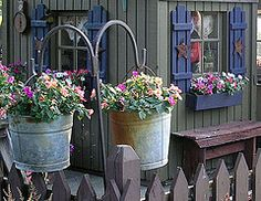 hanging buckets:) outdoors-and-garden
