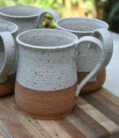 large rustic mug stoneware pint mug speckled by earthformsbymarie