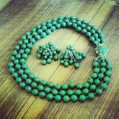 Kitsch 1950s 3 Strand Bead Emerald Green Vintage by LuluBrandy, £15.00