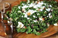 Massaged Kale and Craisin Salad with Feta Cheese- my new favorite salad