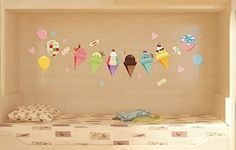 Decowall, DK-20001, Ice cream Bunting Wall Stickers (Visible Wall Stickers)