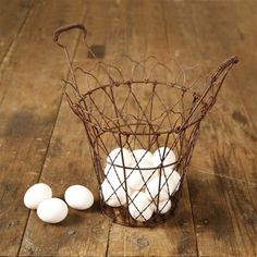 NEW! French Wire Egg Basket - Rusty Finish