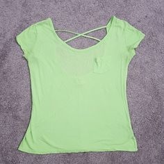 Yoga Tee Super soft light green cotton tee, scoopneck back with strap detail, perfect for lounging or yoga, semi-loose, worn once, mix between light green and sorta lime green Gilly Hicks Tops Tees - Short Sleeve