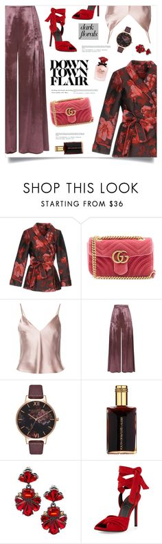 """Down Town Flair"" by marina-volaric ❤ liked on Polyvore featuring F.R.S For Restless Sleepers, Gucci, Fleur du Mal, Temperley London, Olivia Burton, Estée Lauder, Saks Fifth Avenue, Kendall + Kylie, Dolce&Gabbana and darkflorals"